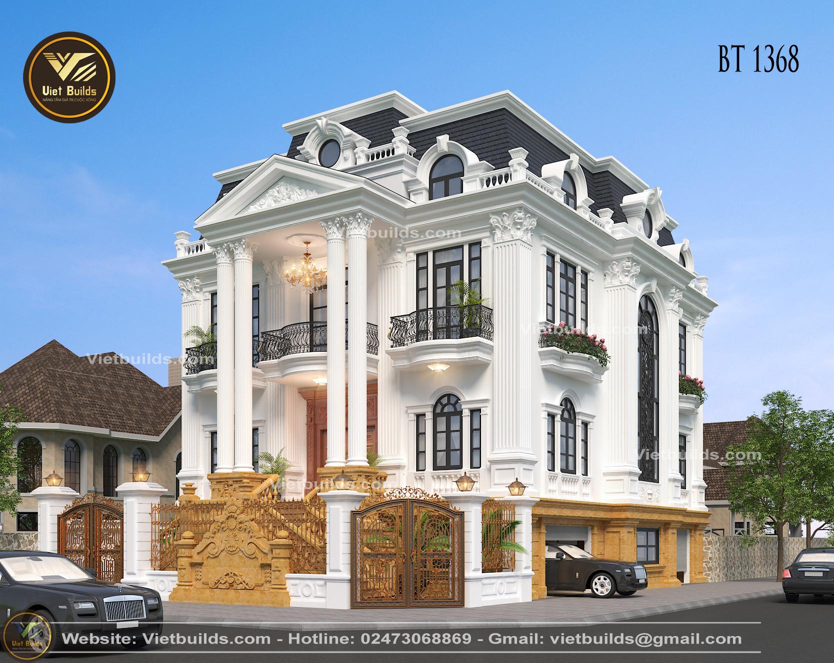 mẫu biệt thự 3 tầng tân cổ điển đẹp BT1368