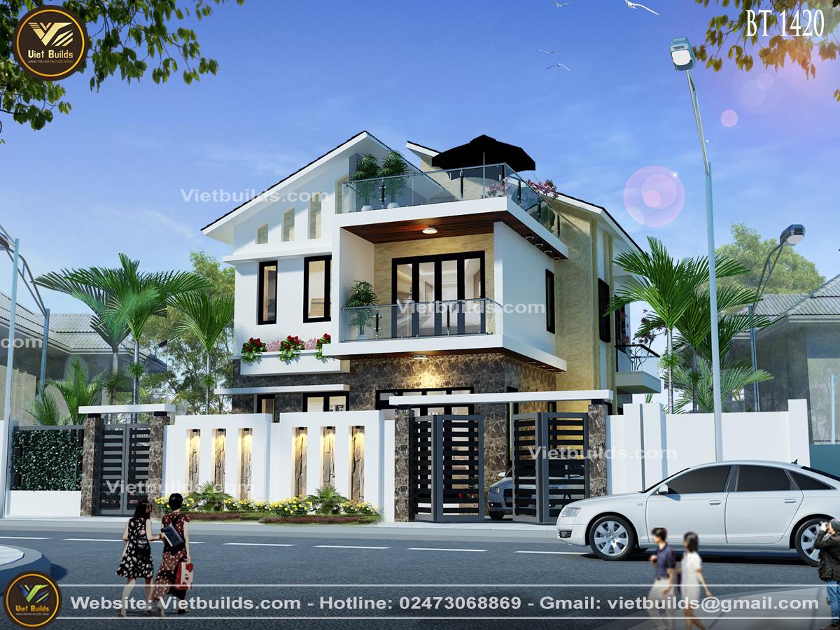 mẫu nhà 2 tầng đẹp hiện đại ở Quảng Ninh BT1420