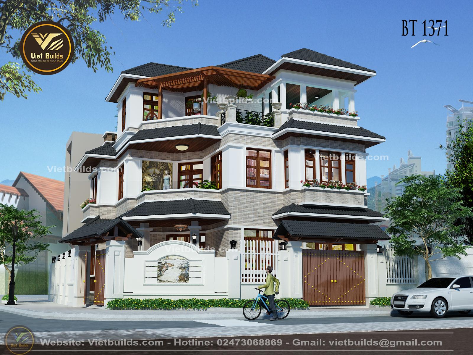Mẫu thiết kế nhà 2 mặt tiền đẹp BT1371