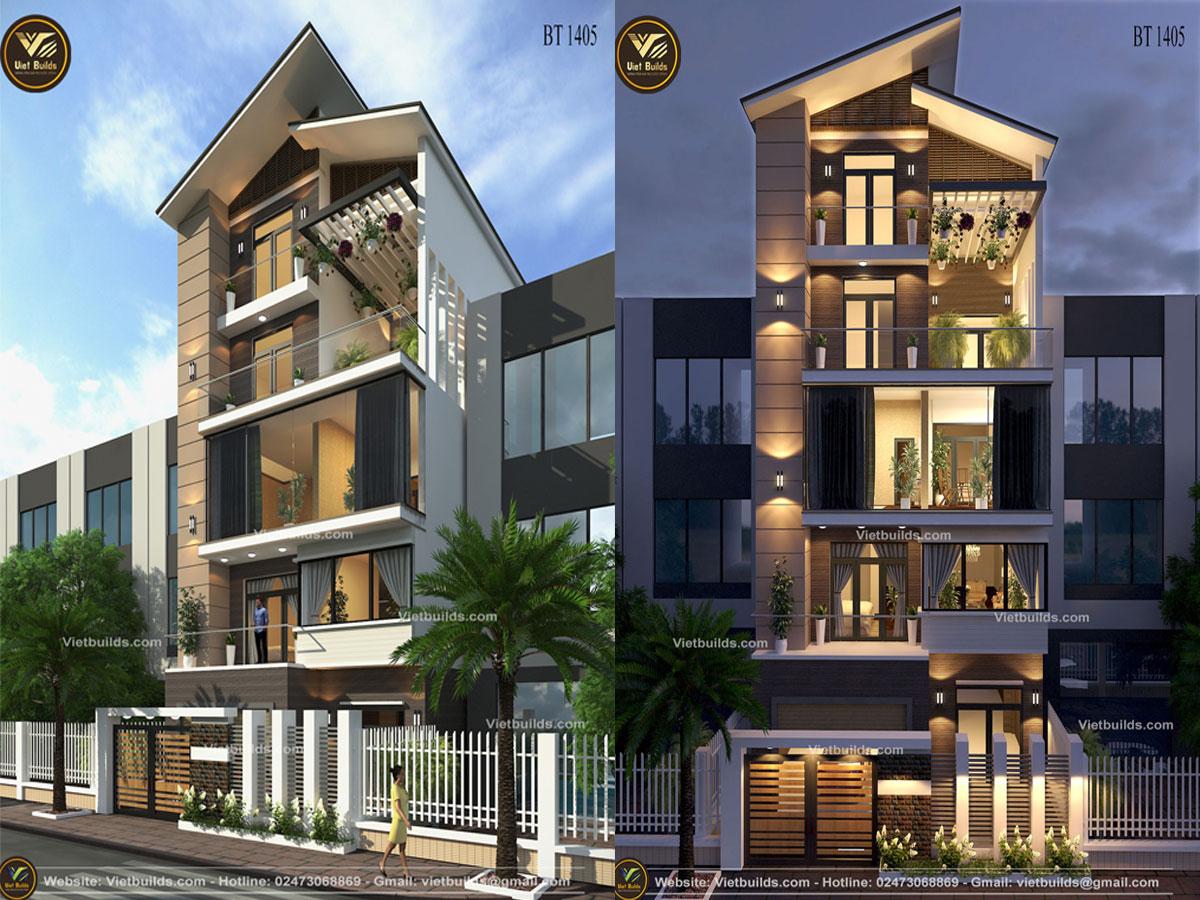 mẫu thiết kế nhà phố 5 tầng đẹp hiện đại BT1405
